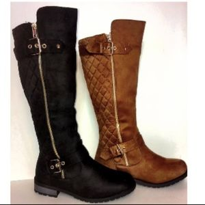 Shoes - Black Riding boots with gold buckles and zipper