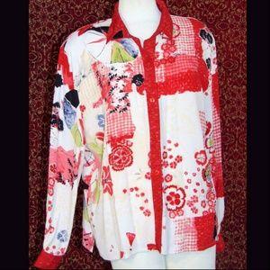 46th STREET VINTAGE floral long sleeve blouse XL
