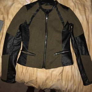 Barely worn army green and black leather jacket