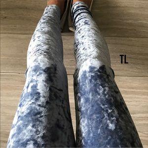 Light blue crushed velvet velour comfy leggings