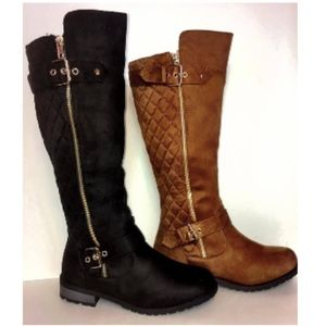 Shoes - Brown Riding boots with gold buckles and zippers
