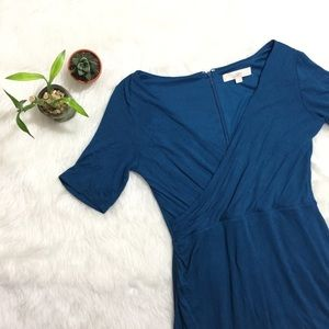 Loft Soft Blue Wrap Front Mid Dress