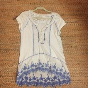 Anthropologie blue and white tunic