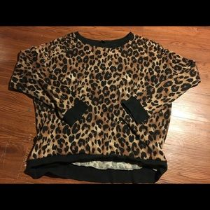 Cheetah print sweater with shoulder detail