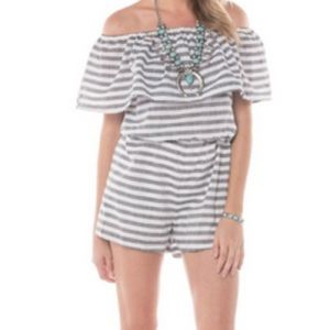 Off The Shoulder Striped Romper
