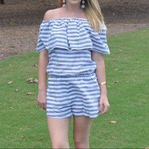 Buddy Basics Dresses - Off The Shoulder Striped Romper