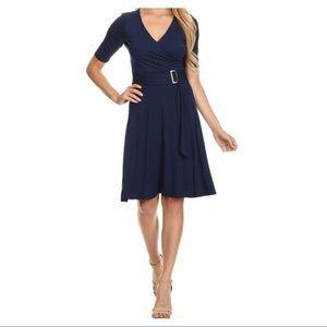 NWOT Gilli Three Quarter Sleeve Faux Wrap Dress