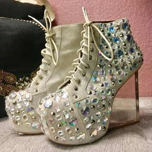 Jeffery Campbell jeweled clear wedge boot