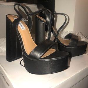 Steve Madden Black Leather Heals Size 7.5
