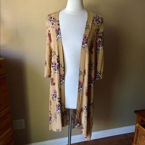 Golden Floral Kimono Wrap