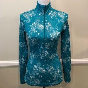 Athleta 1/4 Zip Pullover Jacket Long Sleeve green