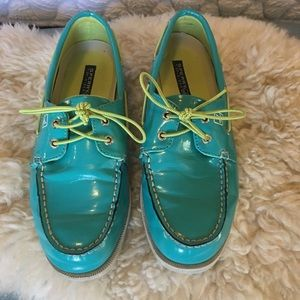 Sperry boat shoes, Aqua patent leather