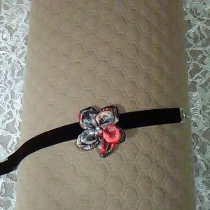 Red Camo Petal Flower Black Velvet Choker
