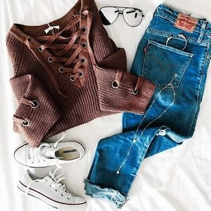 Sweaters - Brown Lace-Up Chunky Sweater
