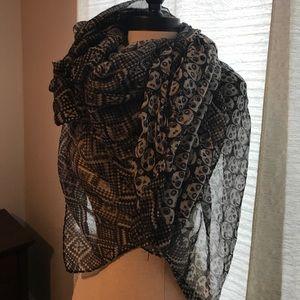 Black and white sugar skull scarf
