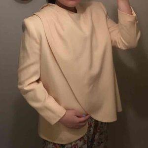 Kasper light yellow wool draped blazer jacket