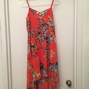 Lulus Floral High Low Dress with Crisscross Neck