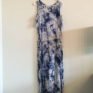 Tie dye, open shoulder maxi dress