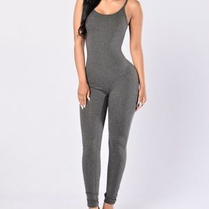 Charcoal colored body suit