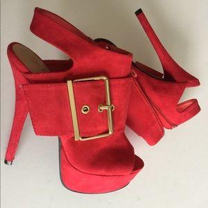 Red Open-Toe Bootie High Heels