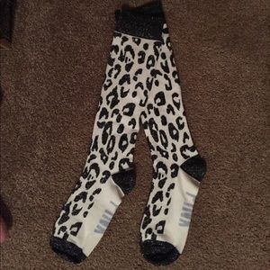 Cheetah Print VS Pink Knee High Socks