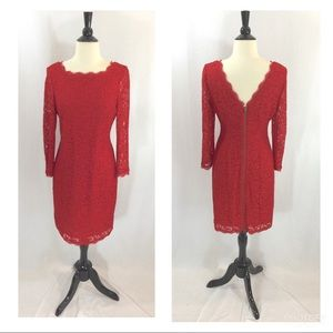 Red lace Cache long sleeve dress size 6