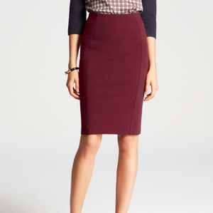 Ann Taylor Maroon Ponte Stretch Knit Pencil Skirt