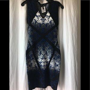 BCBG sleeveless stretch midi dress