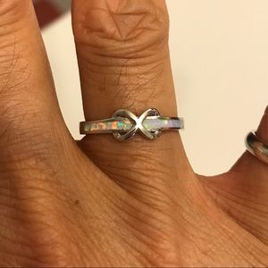 Jewelry - Sterling Silver Infinity White Lab Opal Ring