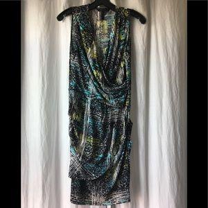 BCBG sleeveless slinky multi colored midi dress