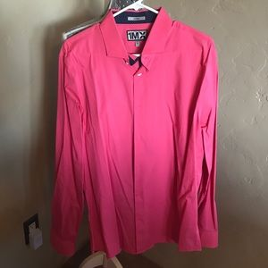 Express Men's coral/pink button up