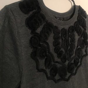 Topshop gray and black embroidered top