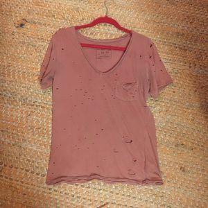 Orange ripped free people shirt