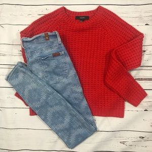 Forever 21 red loose knit crop sweater small