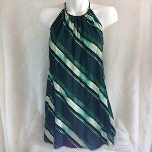 Forever 21 Green Halter Striped Festive Dress XS