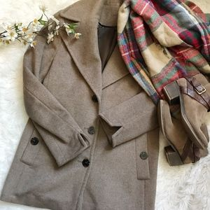 Calvin Klein Wool & Silk Blend Long Pea Coat