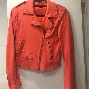 Salmon leather jacket