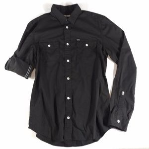 Button Shirt Mens Solid Black Casual Outdoor Slim