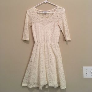 Cotton On - White Lace Mid Sleeve Dress