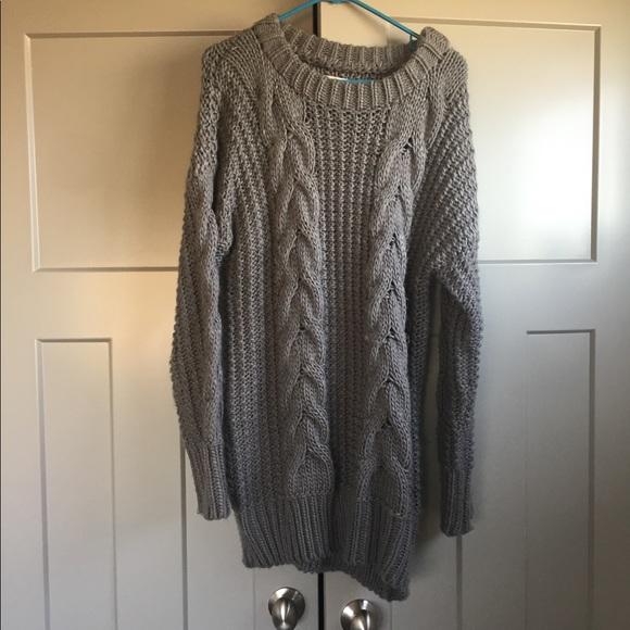 Unif Dresses Gray Chunky Sweater Dress Poshmark