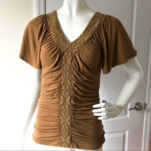 Anthropologie Ruched Brown Top Blouse S