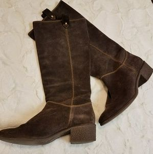 Kate Spade chocolate Suade riding boots
