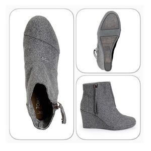 TOMS Desert High Wool Gray Wedges