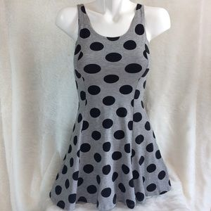 Divided H&M Gray Black Polka-Dot Stretch Dress XS