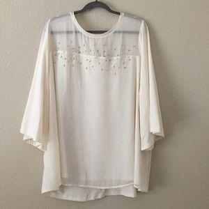 LANE BRYANT Cream Short Sleeve Blouse Sz 26/28