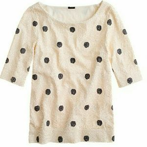 New With Tags J. Crew Polka Dot Sequin Top