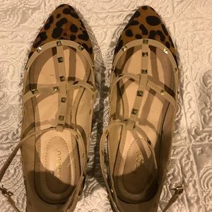 Beige and Leopard Studded Cage Flats