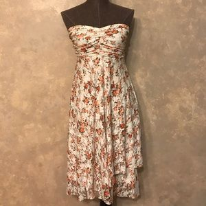 NWOT Strapless Multi-layer Floral Print Lace Dress