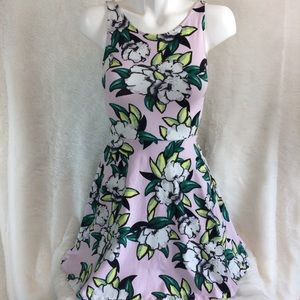 Divided H&M Pink Green Floral Sheath Stret Dress 6
