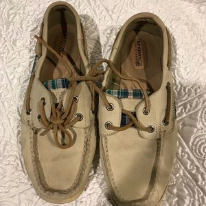 Cream and Plaid Sperry Boat Shoes